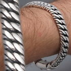 "HEAVY DOUBLE CURB LINK CHAIN 925 STERLING SILVER MENS BRACELET 8"" 8.5"" 9"" 10"""