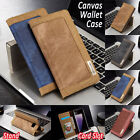 Luxury Retro Denim Canvas Leather Flip Wallet Stand Protective Phone Case Cover