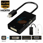 3 in 1 Thunderbolt Mini Display Port DP To HDMI DVI VGA Adapter For Mac/Surface
