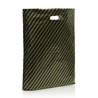Black and Gold Striped Plastic Carrier Bags Boutique Retail Shop Plastic Bags
