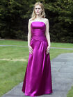 Purple shiny satin wedding bridesmaid evening prom party dress LACE UP BACK
