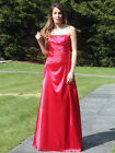 Red shiny satin bridesmaid dress evening prom party dress lace up back SZ 8-22