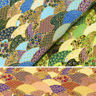 Japanese Cotton Fabric FQ - Oriental Sea Wave Fish Scale Flower Asian Retro VJ27