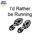 I'd Rather be Running w/Shoe Prints  - Vinyl Sports Car Decal Sticker