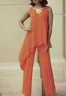 LAST ONE! SUN ORANGE VISCOSE PANTS SET MONROE & MAIN TAJ ASYMMETRIC TUNIC OUTFIT
