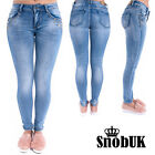Ladies Womens Ripped Studded Slim Fit Skinny Jeans Colours Jean Trouser Pants