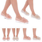 New Womens Pom Pom Suede Style Loafers Flatform Brogue Slip On Shoes Sizes 3-8