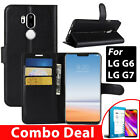 LG G6 Wallet Case Cover , Wallet Flip Leather + Tempered Glass Screen Protecor