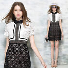 Exquisite Lace Hollow Out Summer Fashion Womens Short Sleeve Above Mini Dress