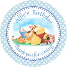 24 POOH BEAR PERSONALISED, GLOSS BABY CHRISTENING, BIRTHDAY STICKERS BLUE/ PINK