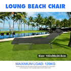 Folding Sun Bed Lounge Pool Beach Outdoor Chair Camping Fishing Deck with Pillow