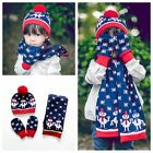 Kids Infant Knitted Hat Scarf Gloves Snowman Snowflake Baby Child Girl Winter