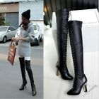 Chic Womens Sexy Lace Up Pointed Toe Block High Heel Over The Knee Boots Shoes #