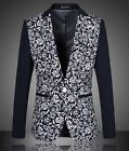 Stylish Men Elegant Casual V-neck Blazers Jackets Floral Cotton Blend Coats Size