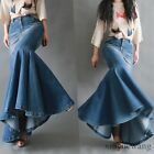 Fashion Womens Denim Jeans Fishtail Skirts Trendy Long Hip Skirts Splice Dress #