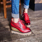 Women Wing Tip Lace Up Wedge Sneaker Casual Platform Leisure Brogue Shoes 2017