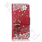 Luxury Bling Diamond Crystal PU Leather Card Wallet Case Stand Cover For Phones