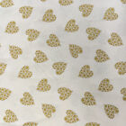 100% Cotton Xmas Fabric - Cream with Gold Hearts - Fabric Material Metre