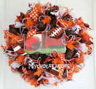 Cleveland Browns Football Mesh Wreath, License Plate Choice, Dawg Pound, Orange