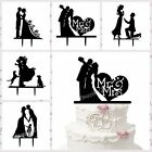 Bride And Groom Mr Mrs Cake Topper Silhouette Wedding Party Favor Black Acrylic