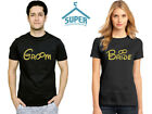GROOM and BRIDE Couple Tshirt Cartoon GOLD Wedding Honeymoon Matching Shirts