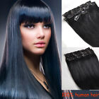 7pcs Clip In 100% Real Human Hair Extensions Jet Black #1 Any Lengths Full Head