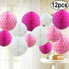 "12 Mix 4"" 6"" 8"" 10"" 12"" Paper Honeycomb Balls Lantern Pompom  Wedding-Pink"
