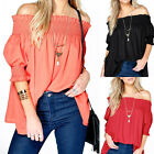 Women Off the Shoulder Tops Casual Loose Plus Size T Shirt Puff Sleeve Blouse