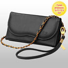 NEW Premium Leather Black Purse Case Cover For Smart Cell Phone w/ Strap Chain
