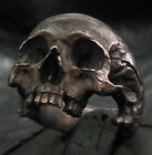 Standard size decay half jaw skull ring silver mens skull masonic jewelry 925
