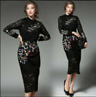 Elegant Graceful Womens Long Sleeve High-end Lace Crochet Embroidered Dress New