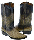Men's Beige Ostrich Design Western Leather Cowboy Boots Squared Rodeo