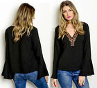 Vintage Boho Beaded embroidered v neck Long bell Sleeve day to night Top Blouse