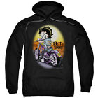 Betty Boop WILD BIKER Riding Motorcycle into Sunset Licensed Sweatshirt Hoodie $41.71 USD
