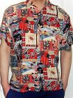 MENS RED GREY PALM TREE FISH PATTERN HAWAIIAN WEDDING SHIRT 5 SIZES S - 3XL