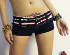 New Women Girl Mini Jeans Shorts Pants Trousers US Flag Stripes Star On Waist