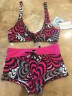 Lisabelle Girls Swimsuit Fully Lined Two Piece Geometric Hearts NEW WITH TAGS