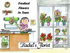 PERSONALIZED CUSTOM CARTOON PRINT - FLORIST  - GREAT GIFT IDEA! FREE S/H