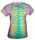 Yizzam- Tiger Leopard Skin Pink Yellow Blue - New Womens Top Shirt Tshirt XS S