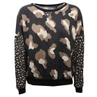 C0172 felpa donna PLEASE cotone multicolor maglia sweatshirt woman