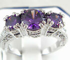Charm 925 Silver Amethyst Three Stone Wedding Ring Engagement Jewelry Size 6-10