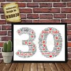 30th Wedding Anniversary Personalised Present Print wordart greeting poster gift
