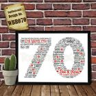 70th Wedding Anniversary Personalised Present Print wordart greeting poster gift