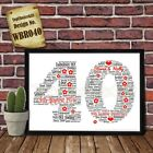 40th Wedding Anniversary Personalised Present Print wordart greeting poster gift