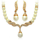 Silver or Gold Tone Ivory White Pearls Queen Design Bridal Wedding Jewellery Set