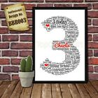 Third 3rd Birthday Personalised Present Print wordart greeting poster gift