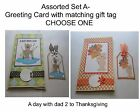 """""""ASSORTED - SET A""""- 5x7 Greeting Card w/Matching Gift Tag- Choose One"""