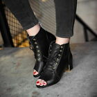 Women's Breathable Lace Up Open Toe Chunky Heel Shoes Pumps Ankle Boots Sandals