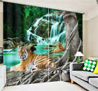 Tiger Laying By Tree 3D Blockout Photo Mural Printing Curtain Drap Fabric Window