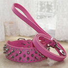 10 Colors Studded Spiked Leather Dog Collar + Dog Leash for Pitbull Boxer Staff